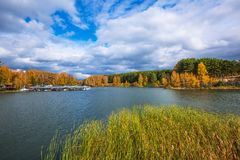 Autumn landscape. The Separate river a tributary of the Ob rive Royalty Free Stock Photography