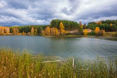 Autumn landscape. The Separate river a tributary of the Ob rive Stock Photo