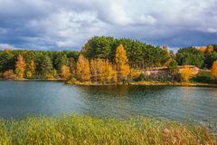 Autumn landscape. The Separate river a tributary of the Ob rive Stock Photos