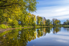 Autumn landscape on the Siberian river Royalty Free Stock Photos
