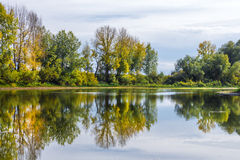Autumn landscape on the Siberian river Royalty Free Stock Photo