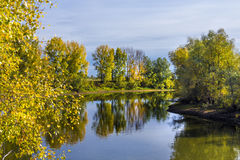 Autumn landscape on the Siberian river Stock Photography