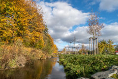 Autumn landscape and small river Royalty Free Stock Image