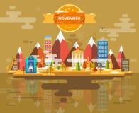 Autumn landscape. Small town. Set 1 Month of November Infographics Calendar Mountain, nature, park, building, Flat design Stock Illustration Vector Stock Images
