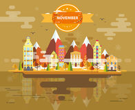 Autumn landscape. Small town Royalty Free Stock Images
