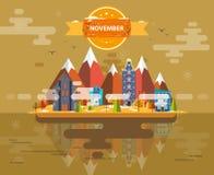 Autumn landscape. Small town. Set 1 Month of November Infographics Calendar Mountain, nature, park, building, Flat design Stock Image Illustration Stock Photos