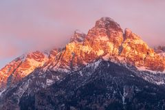 Autumn Landscape in the Snow Covered Tetons. A beautiful autumn landscape in the snow covered Tetons at sunrise Stock Photos