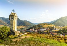 Autumn landscape of Spitz. Wachau valley, Danube river, Austria royalty free stock image