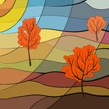Autumn landscape. In stained glass window style Stock Photos