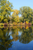 Autumn landscape of steady river Stock Images