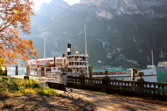 Autumn Landscape with a steamer Royalty Free Stock Image