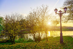 Autumn Landscape with Street Lights near Lake Stock Image