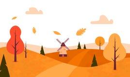 Autumn Landscape Style plat Arbres de chute, feuilles, moulin à vent Vecteur illustration de vecteur