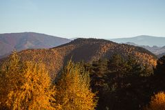 Autumn landscape on sunny day. Cindrel mountains, Sibiu county, Romania stock images