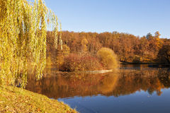 Autumn landscape on a sunny day with the pond and the small island in Tsaritsyno Royalty Free Stock Images