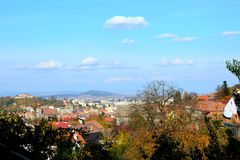 Nice colors. Typical landscape in the city Brasov, Transylvania, Romania, Autumn characteristic colors Stock Photo