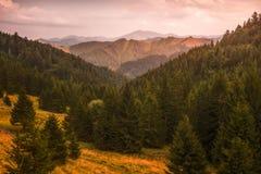 Autumn Landscape at Sunset. Beautiful Autumn Landscape Lit by Golden Light. Low Tatras, Slovakia royalty free stock photography