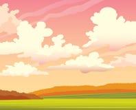 Autumn landscape - sunset, cloudy, field, forest. Green field with orange forest on a cloudy sunset sky. Autumn landscape. Vector nature illustration Royalty Free Stock Images