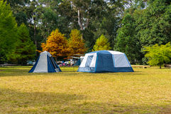 Autumn landscape with tourist camping tents Stock Photography