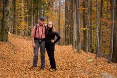 Tourist in autumn Beskidy mountains stock photography