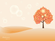 Autumn landscape. Autumn tree with yellow leaves on a beige background. Vector illustration royalty free illustration