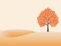 Autumn landscape. Tree with yellow leaves on the hill. Vector illustration on beige background stock illustration