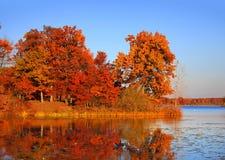 Autumn landscape in twilight Stock Images