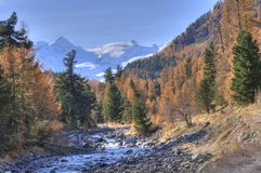 Autumn landscape in Val Roseg, Switzerland Royalty Free Stock Images