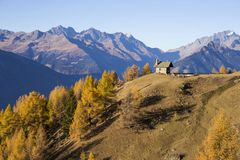 Autumn landscape in Valtellina in Italy. Church on the mountains of Valtellina, Italy Stock Images