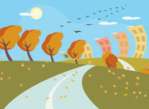 Autumn landscape vector background Stock Images