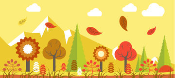 Autumn landscape vector colorful poster in graphic design. Autumn time landscape vector colorful poster in graphic design. Bright illustration of various flowers Royalty Free Stock Photos