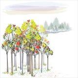 Autumn Landscape Vetor Imagem de Stock Royalty Free