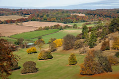 Autumn landscape view in the Chilterns, England. A beautiful landscape view over the Chiltern hills in Oxfordshire, England. Photo taken in autumn in bright Stock Photos