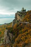 Autumn landscape, view of Foros church in Crimea against the background of the Black Sea, Russia. Temple of the Resurrection of. Christ stock photography