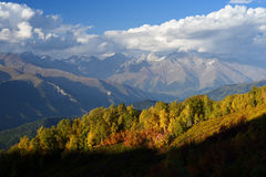 Autumn Landscape with a view of the top of the mountain Stock Images