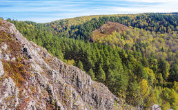 Autumn Landscape Vue de la BERD sibérienne de rivière, de la roche Images libres de droits