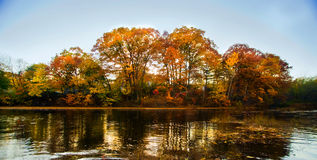 Autumn landscape from water Royalty Free Stock Image