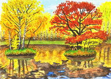 Autumn landscape, watercolours. Hand painted picture, watercolours - autumn landscape, lake with two little islands with  yellow and red trees. It is painted Stock Photo