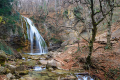 Autumn Landscape with waterfall. Autumn landscape with a waterfall in the Crimean wood royalty free stock images
