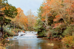 Autumn Landscape and waterfall Soque River in Clarkesville Georg Stock Photos