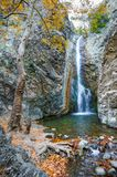 Autumn landscape with a waterfall stock photo
