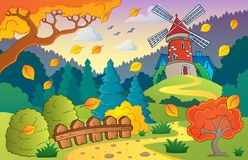 Autumn landscape with windmill 1 Royalty Free Stock Images