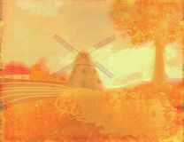 Autumn landscape with windmill. Royalty Free Stock Photography