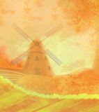 Autumn landscape with windmill. Royalty Free Stock Photos