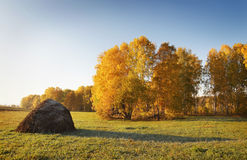 Free Autumn Landscape With Haycock On A Meadow Stock Photo - 26881360