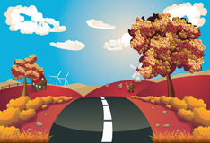 Autumn Landscape With Road Stock Photography