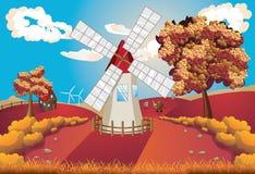Autumn Landscape With Windmill Stock Photos