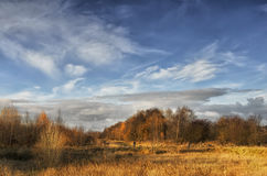 Autumn landscape. Wood park garden autumn landscape travel walking countryside trees sky cloudy clouds wideangle field forest day afternoon recreation jorny Stock Photos