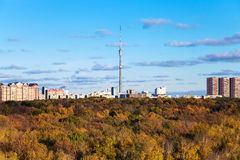 Autumn landscape with woods and city with tv tower Stock Image
