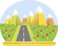 Autumn landscape, yellow mountain with white top, green valleys, red mushrooms grey road, flat design stock Royalty Free Stock Image